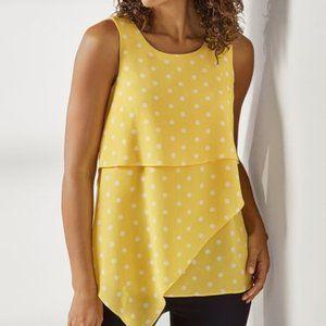 Soft Surroundings Sleeveless Yellow Polka Dot Top
